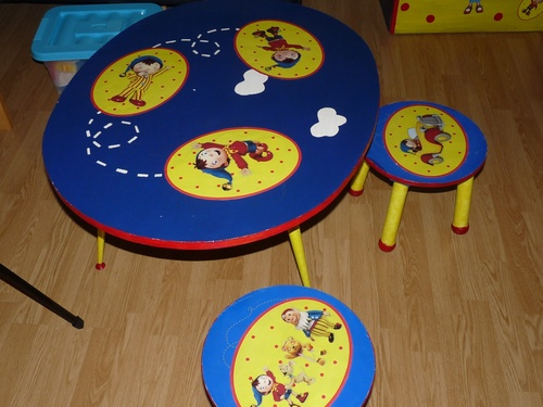 Table et tabourets customisés