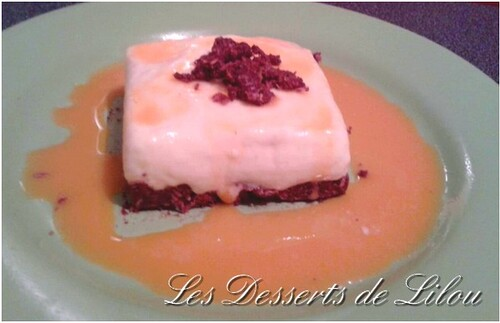 Gâteau mousse mangue et coulis de passion
