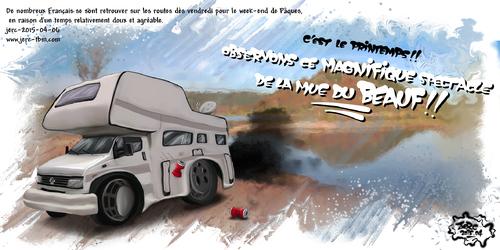 Dessin du jour de jerc le 06 avril 2015 caricature camping-car, heureuse période que celle des parades amoureuses des beaufs. www.facebook.com/jercdessin