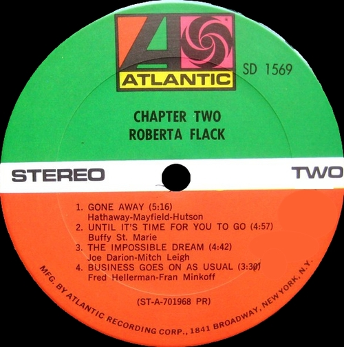 "Roberta Flack : Album "" Chapter Two "" Atlantic Records SD 1569 [ US ]"
