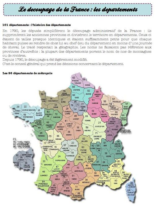 les départements français, le découpage de la France-ce2
