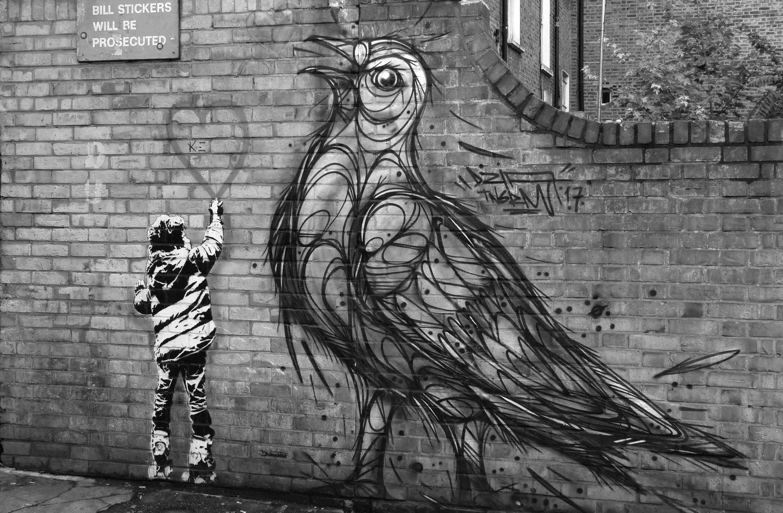 street art à Londres balade en N&B #171015