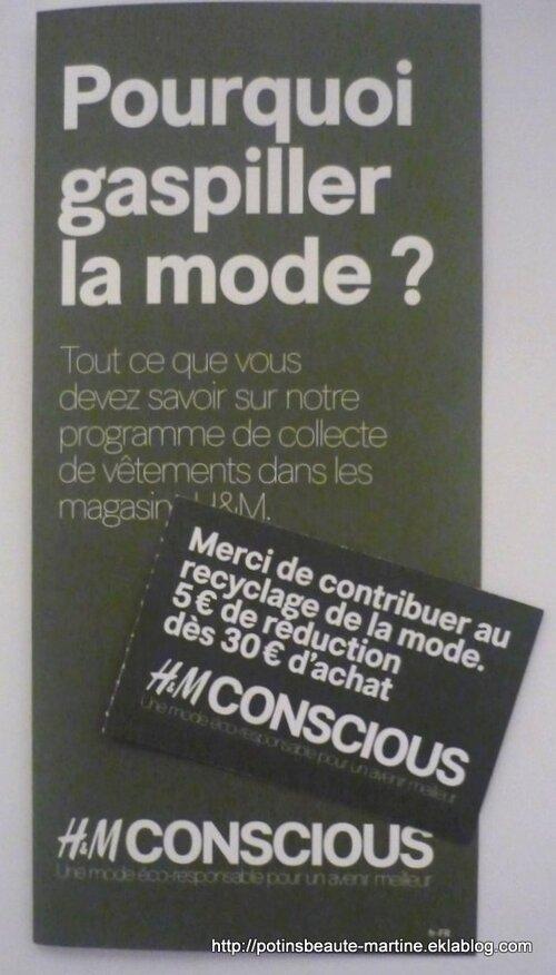 H&M recycle nos vieux vêtements et on repart avec 5€ de bon d'achat ! H&M Concious