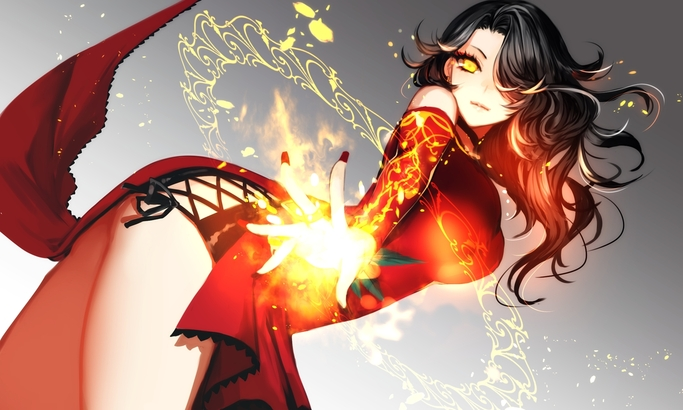 black_hair chinese_clothes cinder_fall dress fire long_hair magic rwby ut_(apt) yellow_eyes