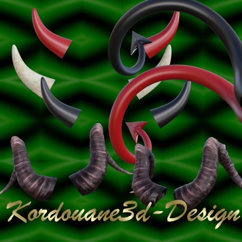 5 tubes de cornes (horns) + 2 queues de diable (tails devil)