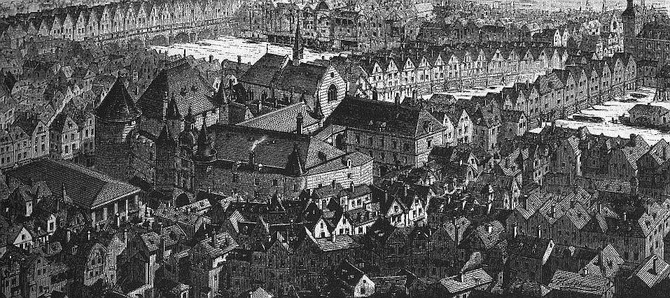Hoffbauer, vue du quartier du Grand Châtelet au Moyen Age