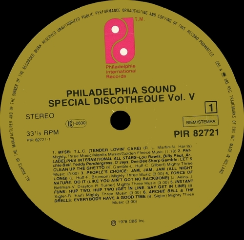 "Various Artists : Philadelphia Sound "" Special Discotheques Volume 5 "" Philadelphia International Records PIR 82721 [ FR ]"