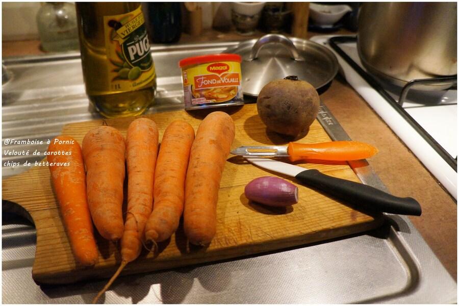 Velouté de carottes et chips de betteraves