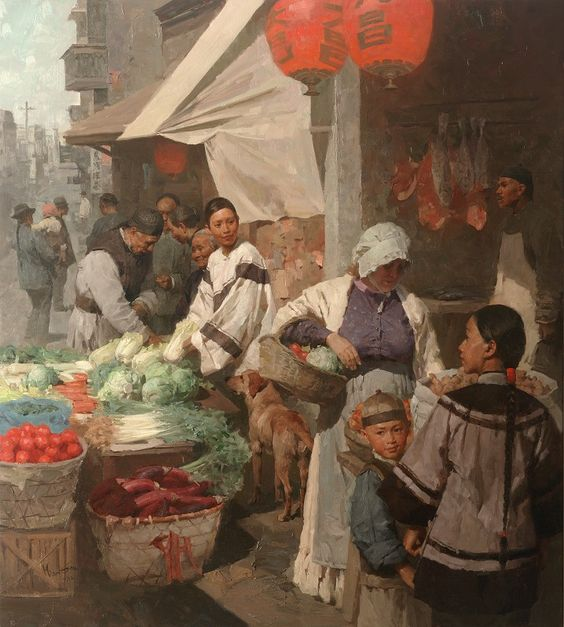 "Mian Situ (Chinese born American, 1953) ""Market Day in Chinatown, San Francisco"", 1905:"