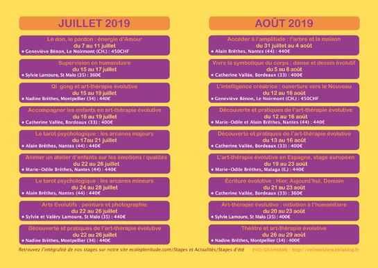 STAGES D'ÉTÉ 2019 ECOLE PLÉNITUDE