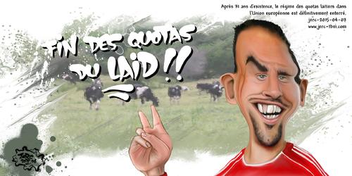 Dessin du jour de JERC  2015-04-03 caricature Frank Ribery, la fin des quotas sur le lait www.facebook.com/jercdessin
