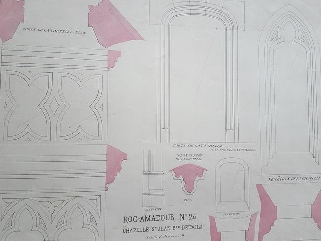 Quelques dessins de l'Abbé Jean-Baptiste CHEVALD pour la restauration de Rocamadour ( suite)