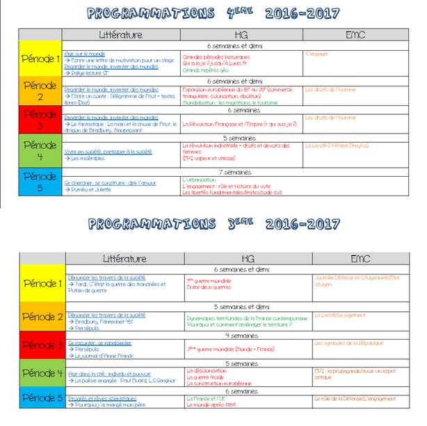 Programmations 2016-2017
