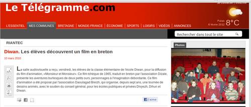 Diwan. Les élèves découvrent un film en breton