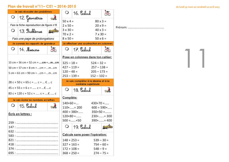 Plan de travail CE1 2014-2015 numéro 11