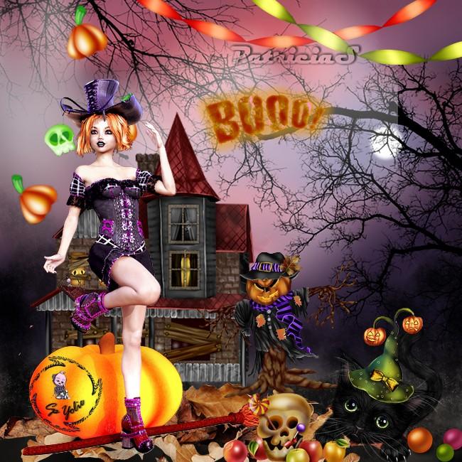 Halloween avec un tube de  yolie merci