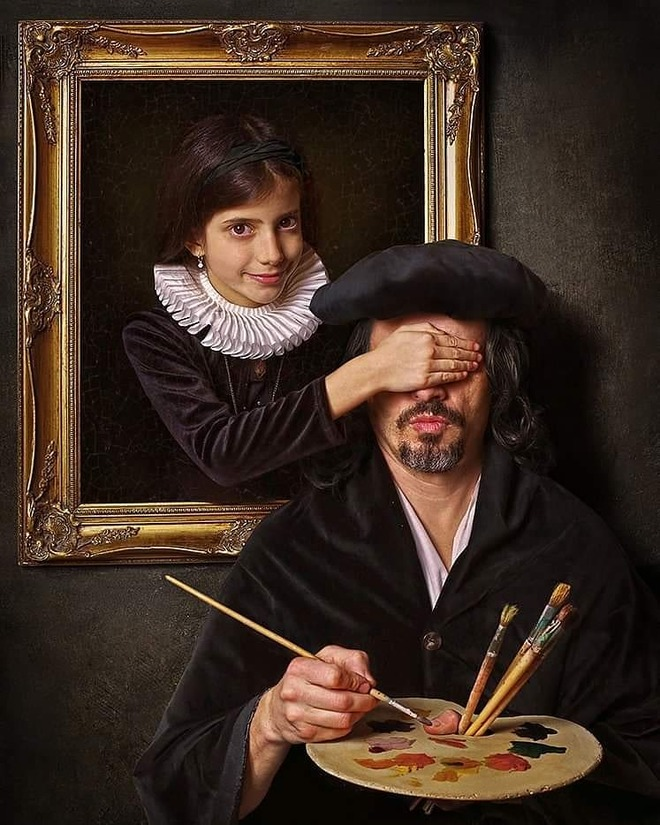 hyper realistic portrait paintings peekaboo