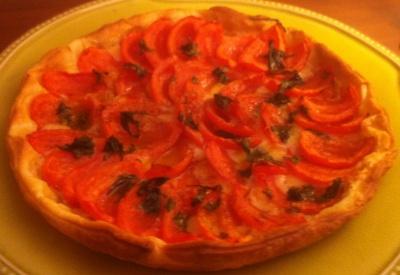 Tarte tomate, moutarde et comté
