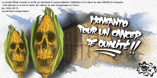 JERC 2016-04-19, caricature Monsanto. autorisation du maïs MON810 les consommateurs applaudissent des 3 mains ! www.facebook.com/jercdessin Cliquer sur la photo pour voir en plus grand
