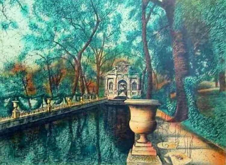 Jean Carzou, pseudonyme de Karnik Zouloumian. Peintre français d'origine arménienne. La Fontaine de Médicis du Jardin de Luxembourg (1986)