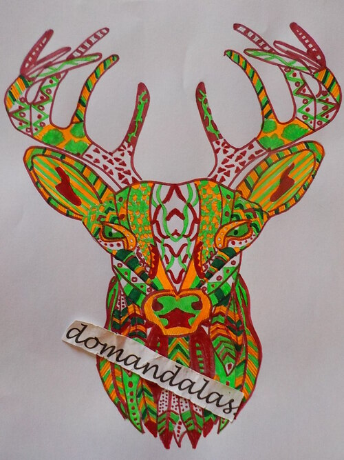 DOMANDALAS  coloriage rennes de Noël