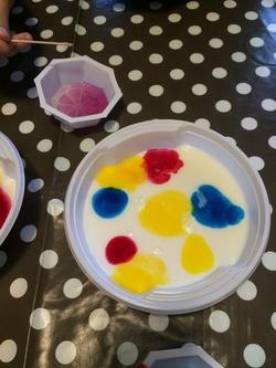 Création artistique dans du lait