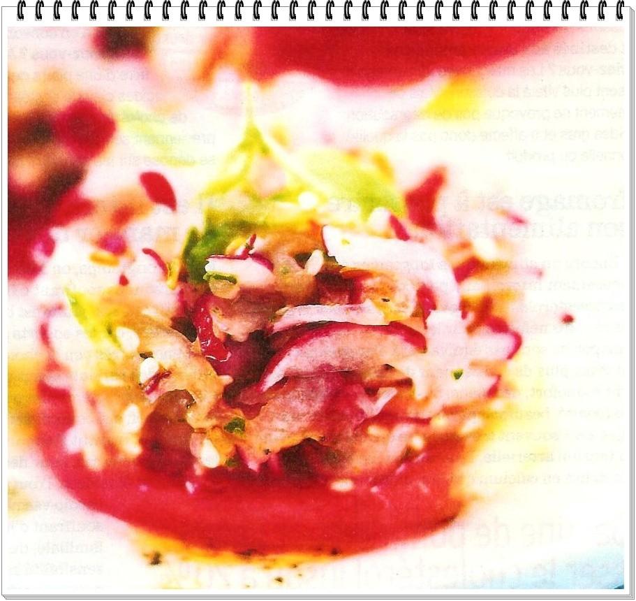 Tartare végétarien à la pastèque et aux 2 radis