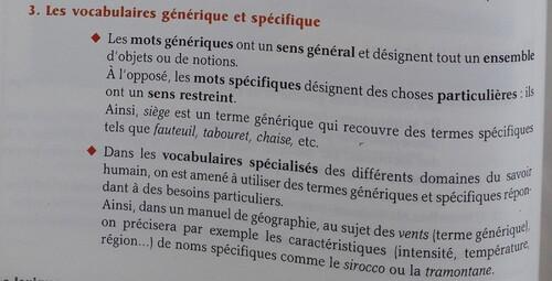 Mots génériques ou spécifiques
