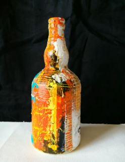 Dessin et peinture - vidéo 2070 : Peindre sur un support original préparé avec du gesso et décoré de manière abstraite avec de la peinture acrylique..