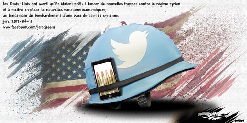 dessin de JERC mardi 11 avril 2017 caricature Intervention USA en Syrie La stratégie fait aussi peur que le stratège www.facebook.com/jercdessin
