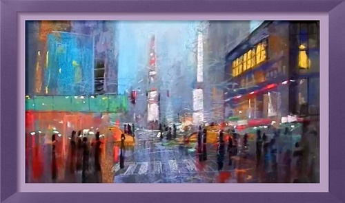 Dessin et peinture - vidéo 2594 : Paysage urbain, tout en improvisation - craie et crayon pastel .