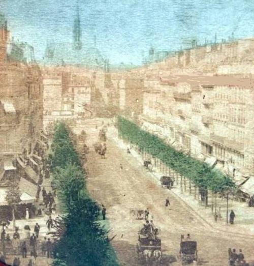 Boulevard Saint Michel - Carte stéréoscopique - lanterne sépia et couleur