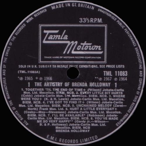 """Brenda Holloway : Album """" The Artistry Of Brenda Holloway """" Tamla Motown Records STML 11083 [ UK ]"""