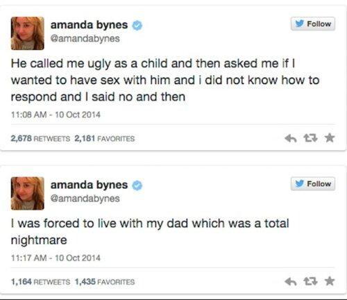 ➤ Amanda Bynes dénonce les viols de son père et le contrôle mental sur tweeter