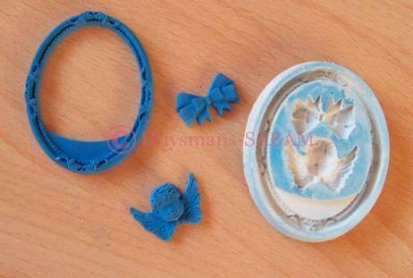 moule mini-cadre ovale, ange et noeud - arts et sculpture: sculpteur, CFAO