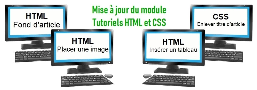 Mise à jour de la rubrique HTML et CSS