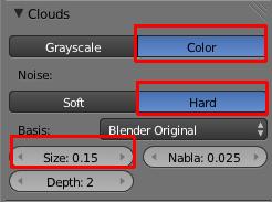 Cliquer sur Color, Hard et ajuster Size à votre goût