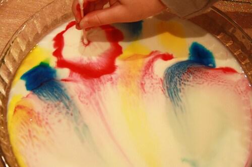 Des colorants, du lait et du savon