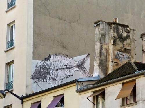 poisson arête street-art Bonom