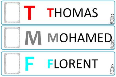 Carte prénom, initiale, photo