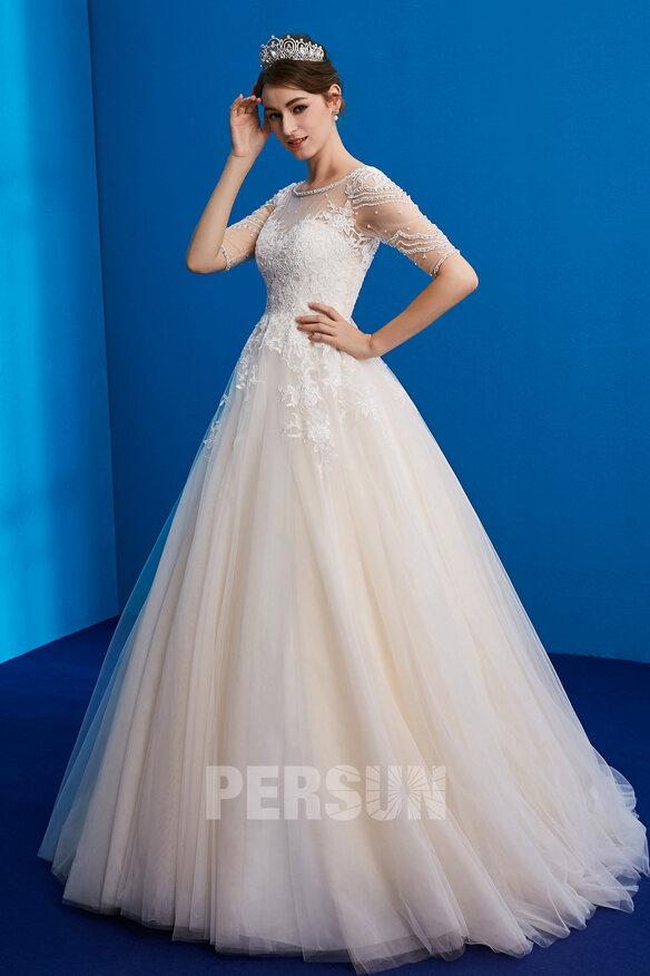 Robe de mariée princesse encolure illusion appliqué de dentelle & bijoux