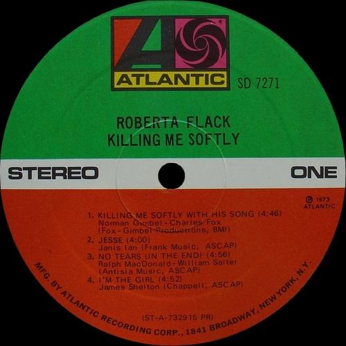"""Roberta Flack : Album """" Killing Me Softly """" Atlantic Records SD 7271 [ US ] en Aout 1973"""