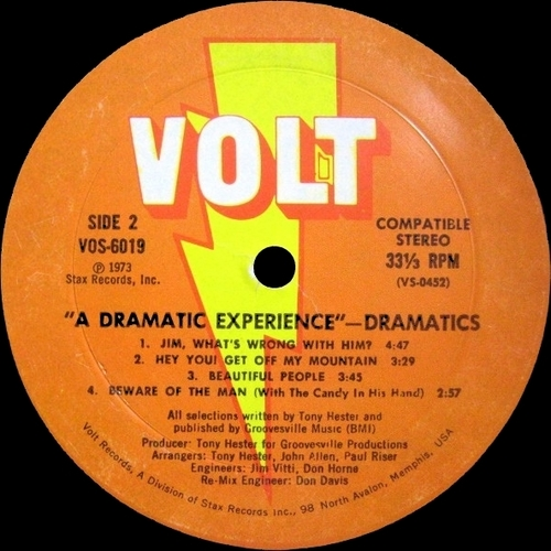 "The Dramatics : Album "" A Dramatic Experience "" Volt Records VOS-6019 [ US ]"