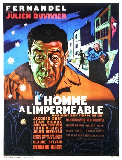 L' HOMME A IMPERMEABLE -  FERNANDEL BOX OFFICE 1957