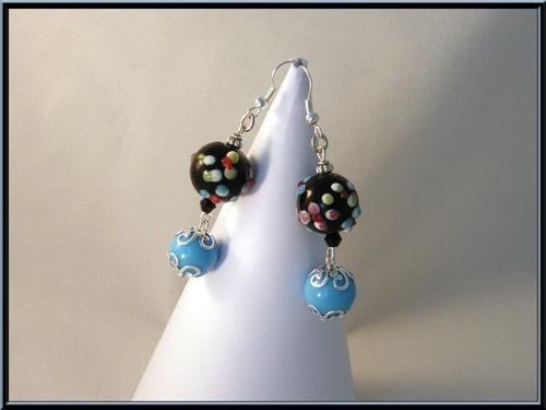 Boucles d'oreille perle verre italian style et perle verre bleu.