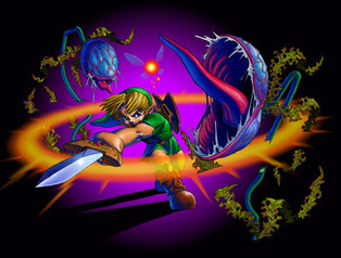 Link cuts down Deku Babas - <i>Ocarina of Time 3D</i>