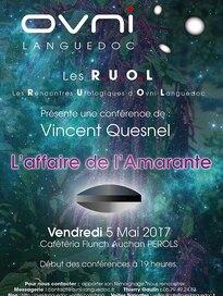 Le 05 mai 2017, Vincent Quesnel aux Rencontres ufologiques d'Ovni Languedoc