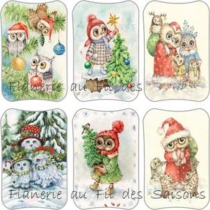 Famille Hiboux à Noël ! cartonnettes