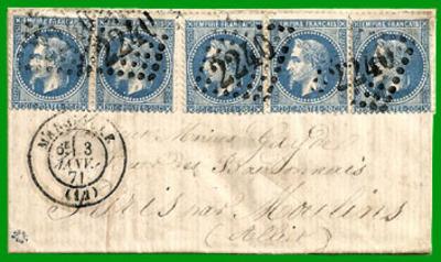 SIEGE DE PARIS 1870-71 COURRIER TRANSPORTE PAR LES BOULES DE MOULINS