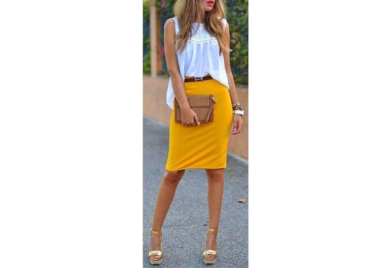 La jupe tube jaune